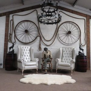 2 New Giant Wingback Chairs (Pearl-White)