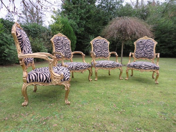 4 Vintage Egyptian Tiger-Print Chairs (Large)