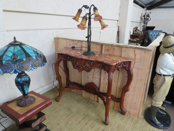 Ornate Hand-Carved Mahogany Console Table